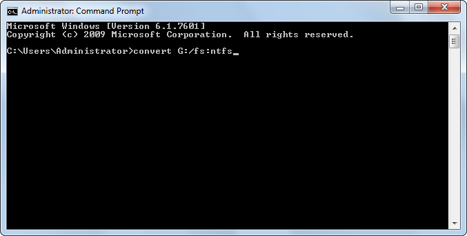convert a flash drive to ntfs in command prompt