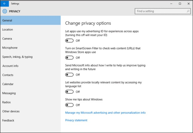 disable windows 10 tracking feature after installation or upgrade