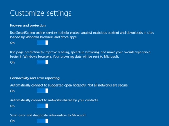 disable windows 10 tracking feature during installation