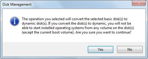 basic disk will convert to dynamic disk error message