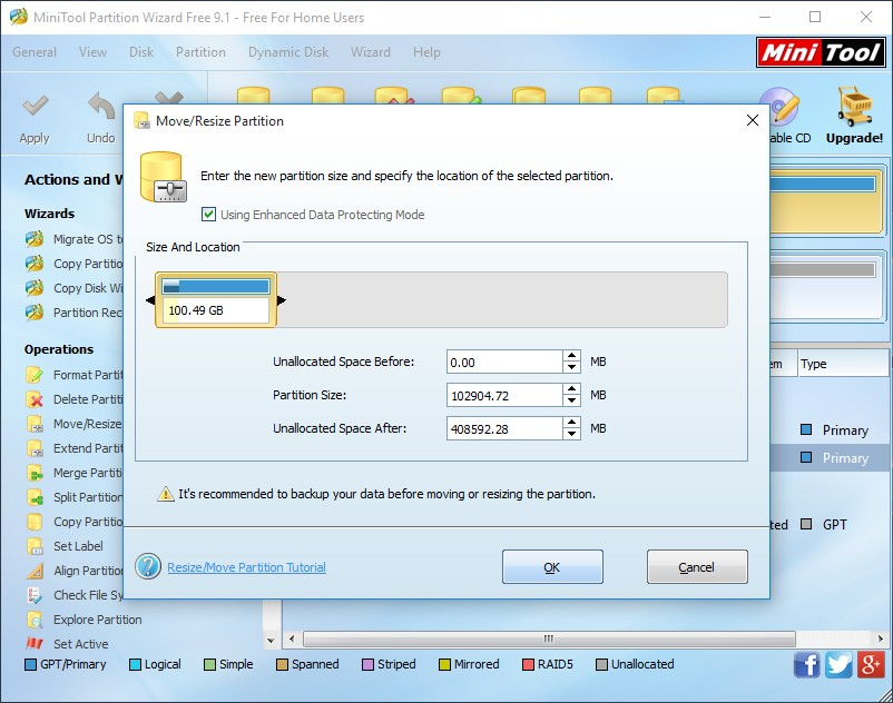 shrink partition using minitool partition wizard 2