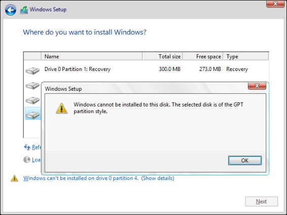 the selected disk is of the GPT partition style error