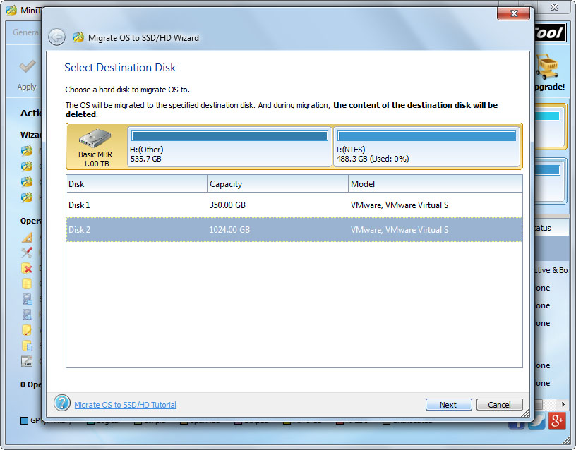 migrate windows to ssd select the ssd to transfer system to