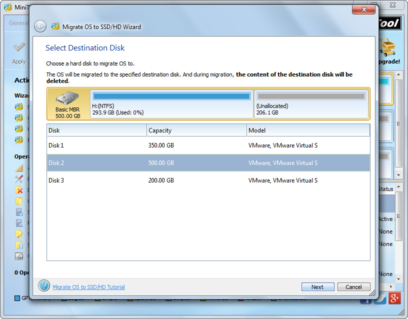 transfer windows 7 to new disk select the new disk